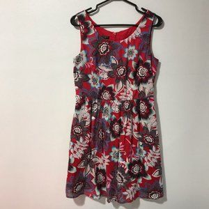 Talbots Red Floral 100% Cotton Dress Size 8P